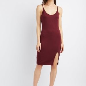 Burgundy Spaghetti Strap Bodycon Midi Dress